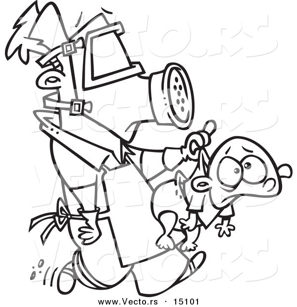 Vector of a Cartoon New Dad Wearing Protective Gear and Carrying a.