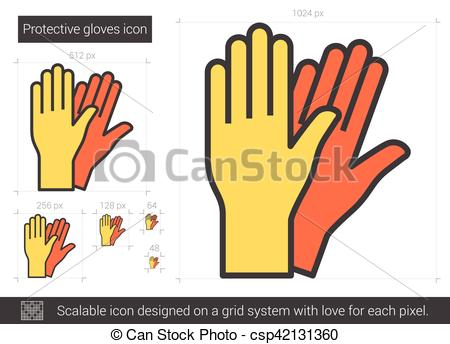 Clip Art Vector of Protective gloves line icon..