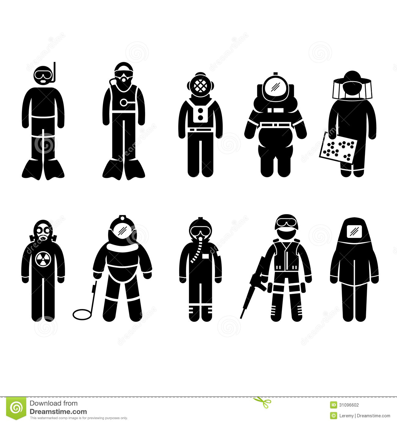 Protective Suit Gear Uniform Wear Stick Figure Pic Stock.