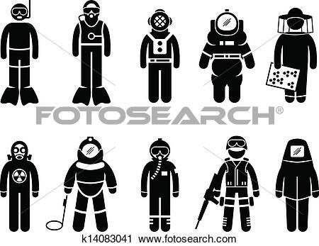 Clipart of Protective Suit Gear Uniform Wear k14083041.