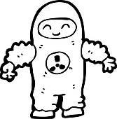 Clipart of cartoon man in quarantine suit k15535524.