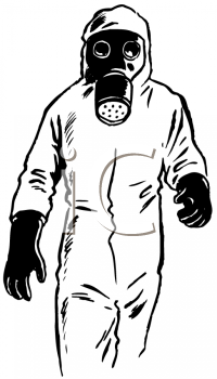 Cartoon Man With Protective Mask Clipart.