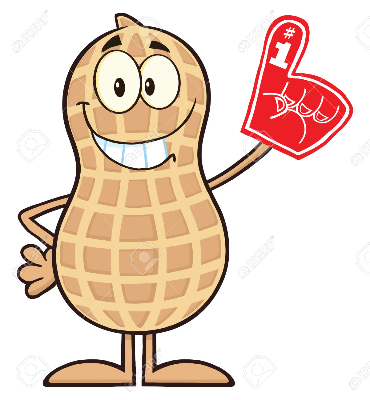 Smiling Peanut Cartoon Character Wearing A Foam Finger.