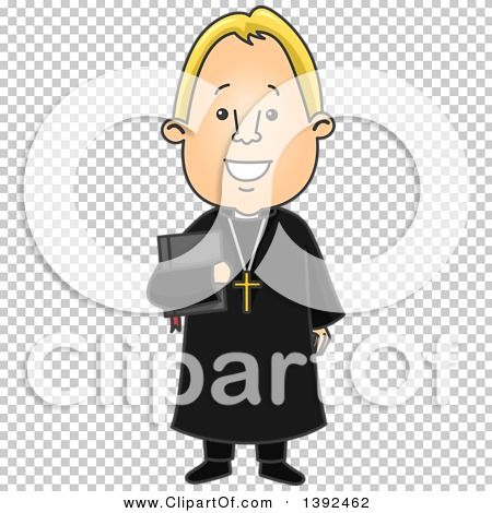 Clipart of a Cartoon Blond White Protestant Priest Holding a Bible.