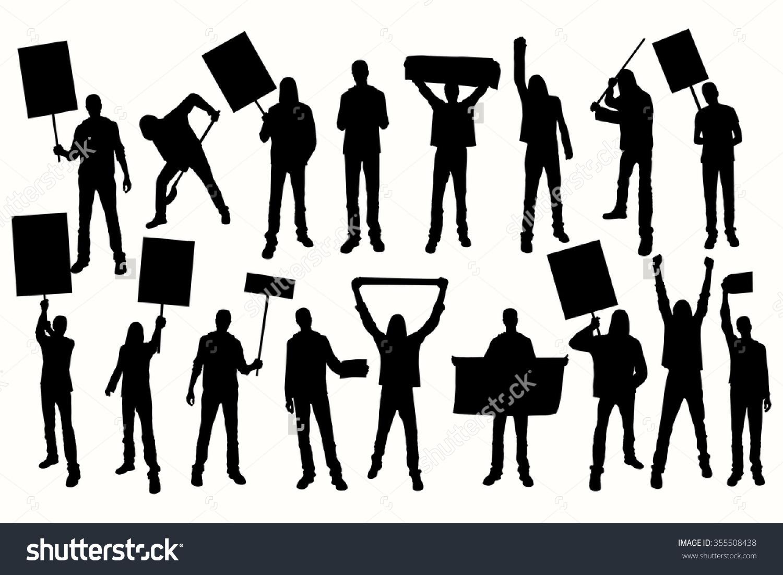 Protest Men Silhouette Men Holding Banner Stock Vector 355508438.