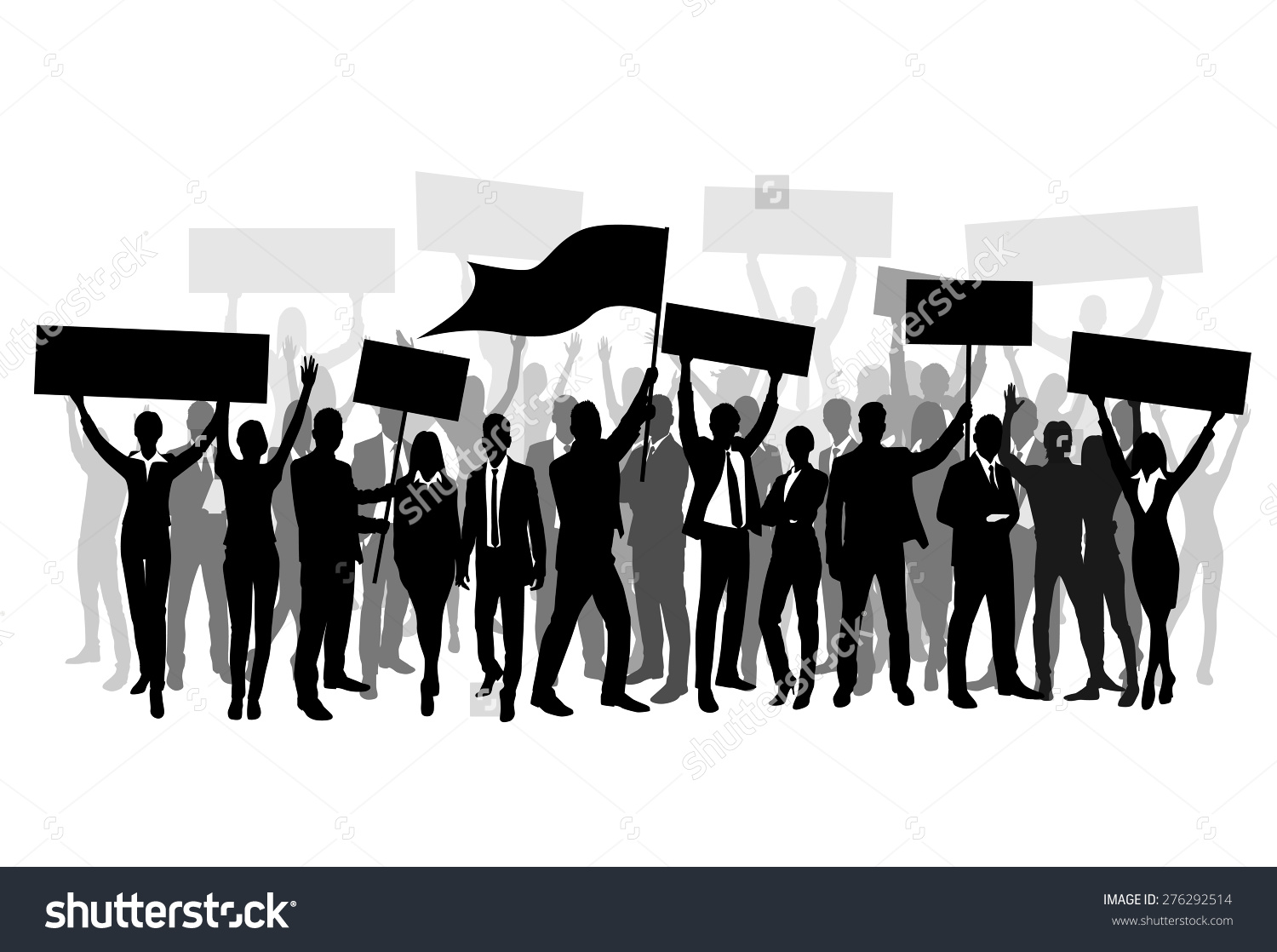 Protest People Crowd Silhouette Man Holding Stock Vector 276292514.