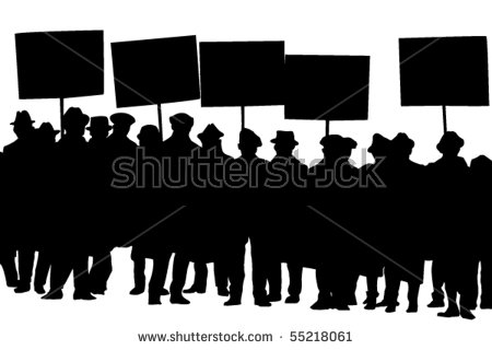 Vector Silhouette Protesters Banners Stock Vector 55218061.