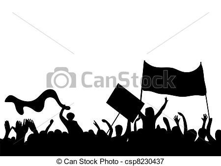 Vectors Illustration of silhouettes of protesters csp8230437.