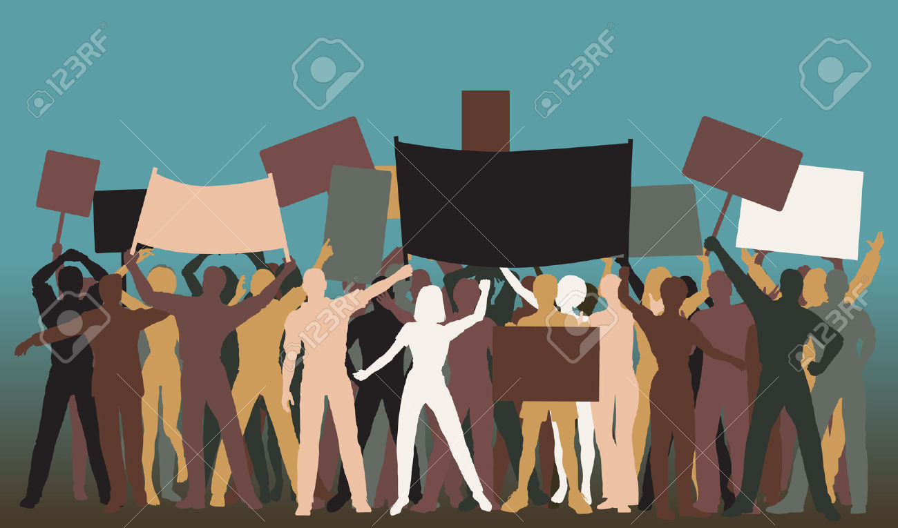 Editable Silhouettes Of Protesters And Banners Royalty Free.