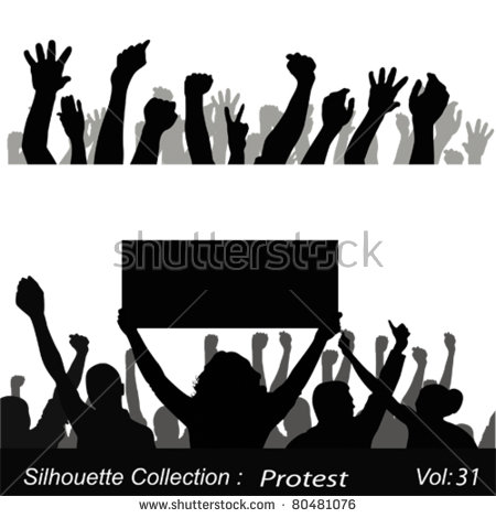 Protestors Silhouette Stock Images, Royalty.