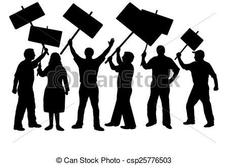 Stock Illustration of people protestig.
