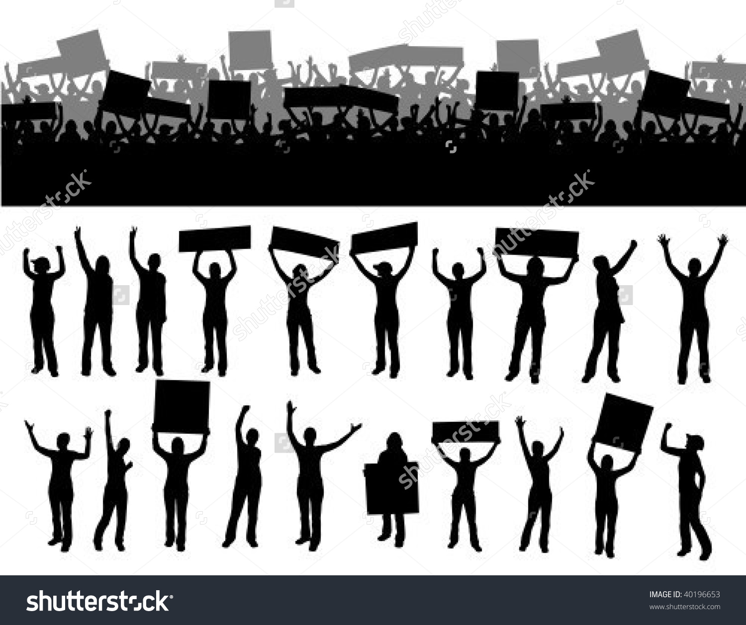 Lots Furious People Protesting Signs Silhouette Stock Vector.