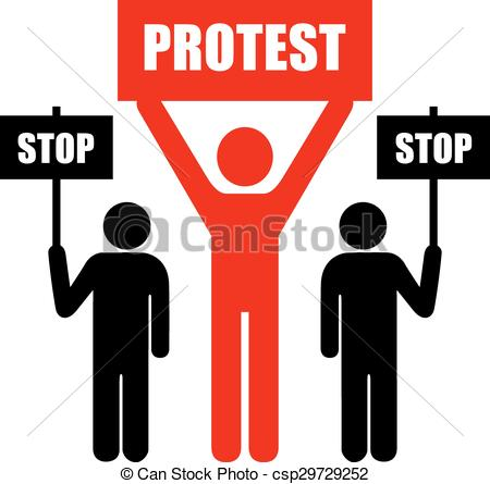 Clipart Vector of Demonstration of protest icon on white.