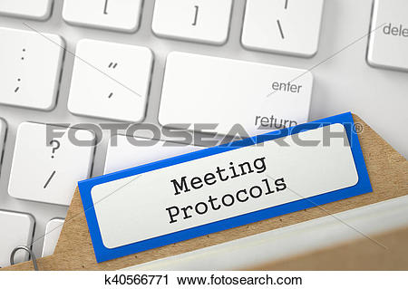 Clipart of Folder Register with Inscription Meeting Protocols. 3D.