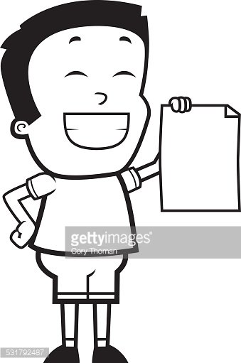 Cartoon Boy Proud Clipart Image.