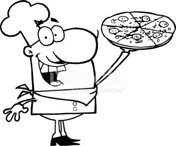 Black and White Proud Chef Holding A Pizza Clipart Image.