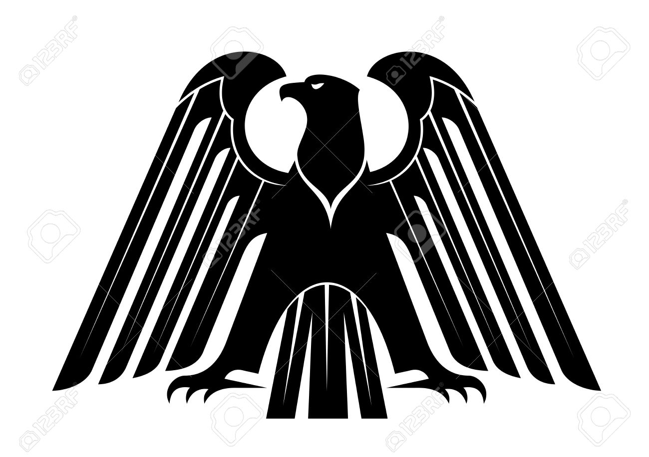 Proud Black Eagle Silhouette For Heraldry Design With Raised.