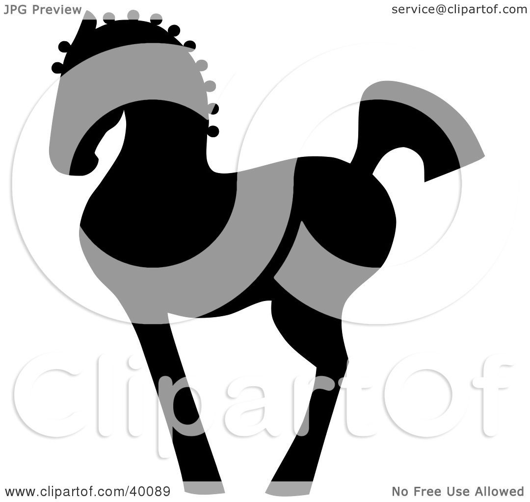 Clipart Illustration of a Proud Black Silhouetted Oriental Horse.