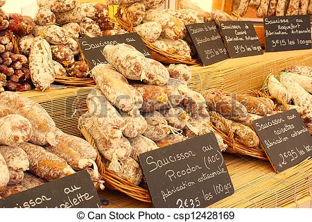 Stock Image of Artisan sausage for sale in the market, Provence.