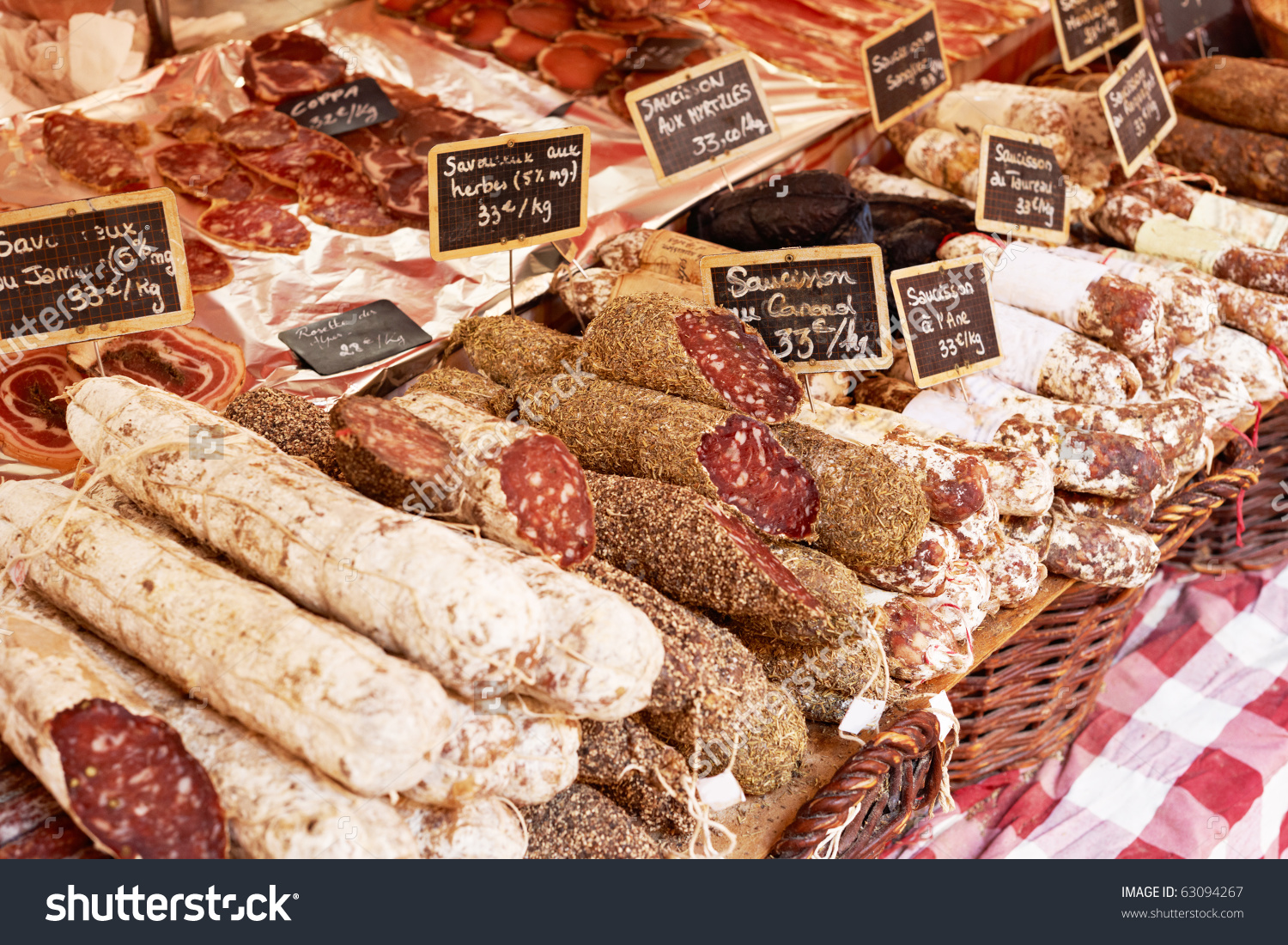 Sausage On Market Stand Aix En Stock Photo 63094267.