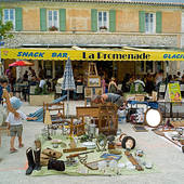 Stock Image of annual flea market sault village provence france.