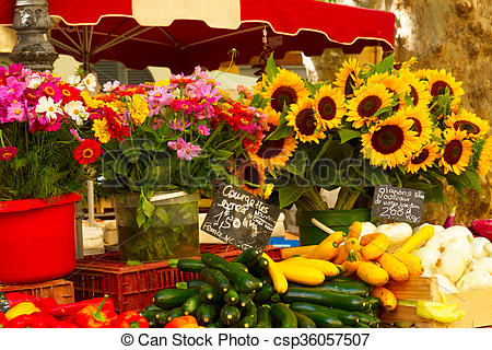Stock Photography of Provence market with food and flowers.