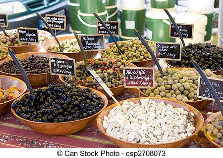 Stock Photos of olives, street market in Salles.