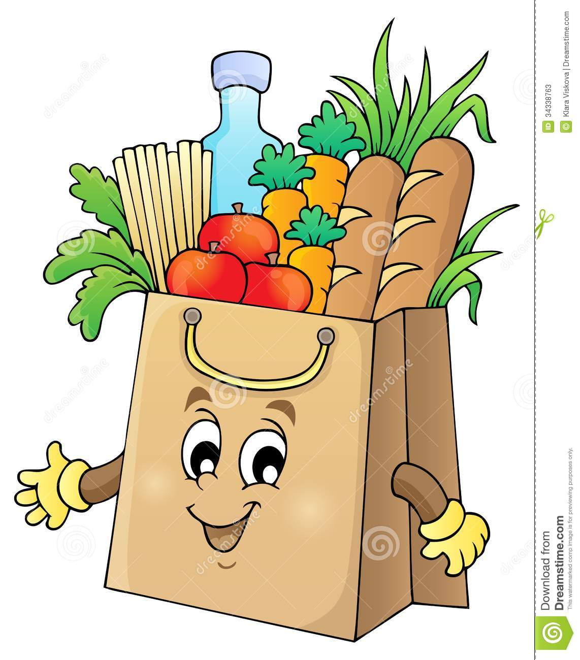Grocery bags of food clipart.