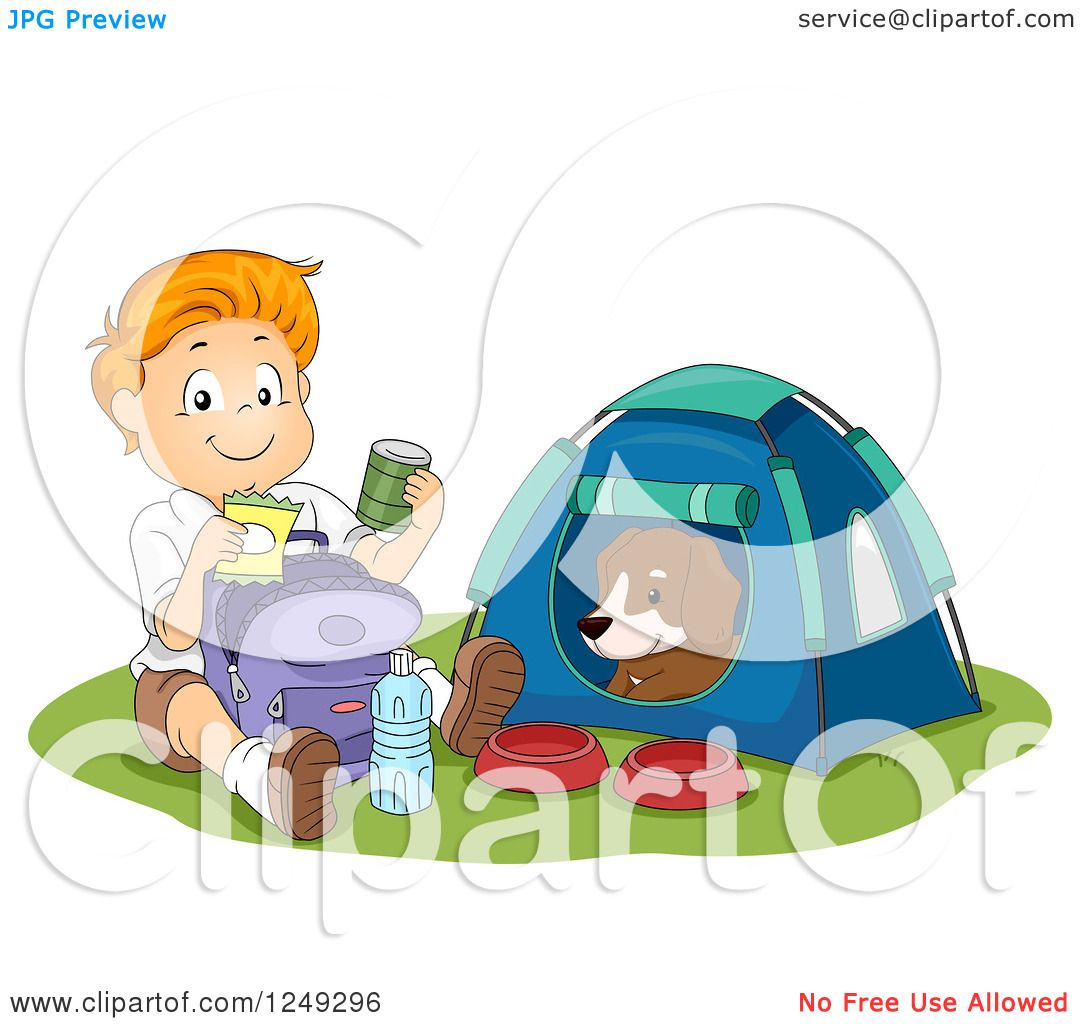Clipart of a Happy Boy Going Through His Provisions While His Dog.