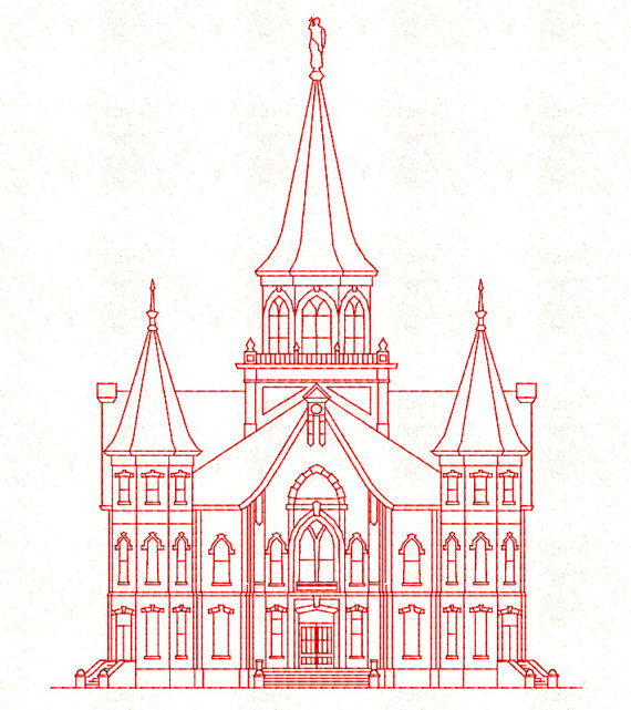 Provo City Center LDS Temple Redwork by TheEmbroideryDepot on Etsy.