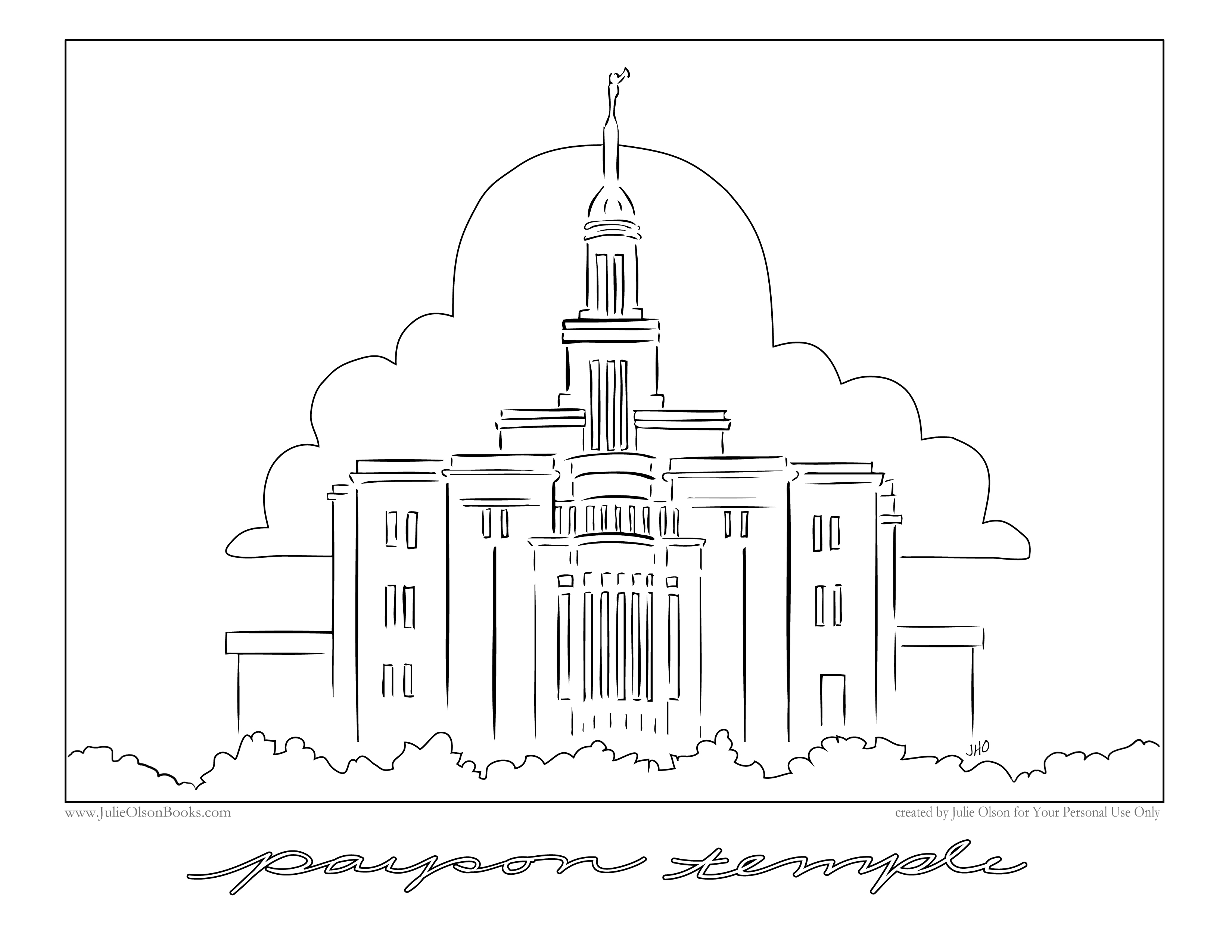 Payson Temple Coloring Page coloring page, coloring image, clipart.