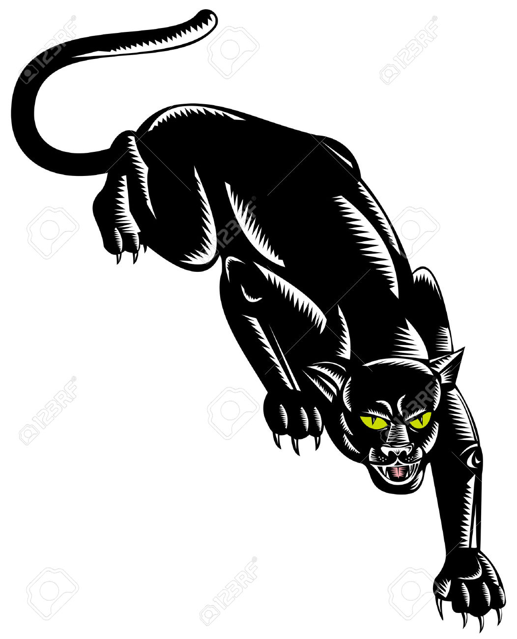 Panther On The Prowl Ready To Attack Royalty Free Cliparts.