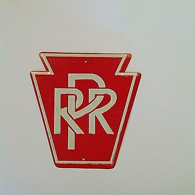 Vintage Miniature Pennsylvania Railroad Tin Sign PRR Train Line Logo Red  Shield.