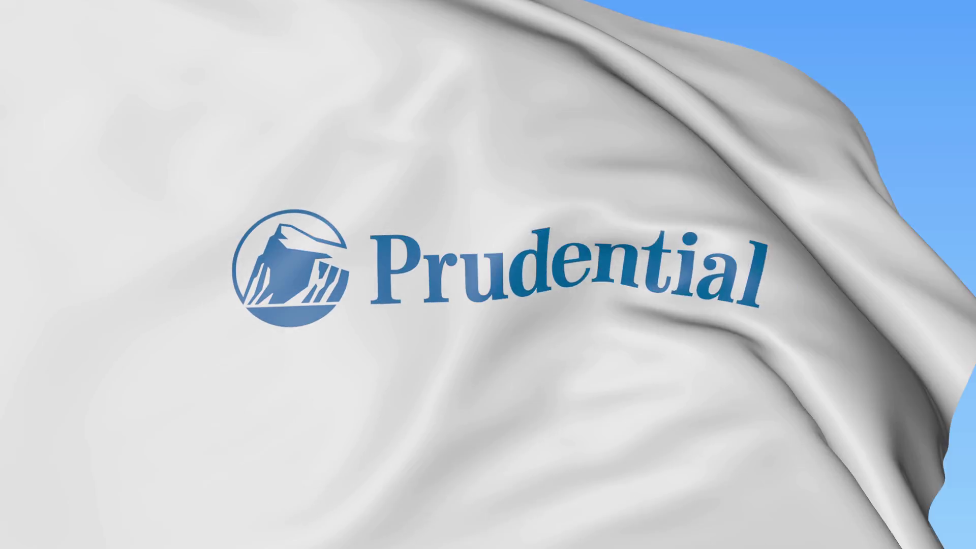 Waving flag with Prudential Financial logo. Seamles loop 4K editorial  animation Stock Video Footage.