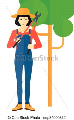 Vector Clip Art of Farmer with pruner..
