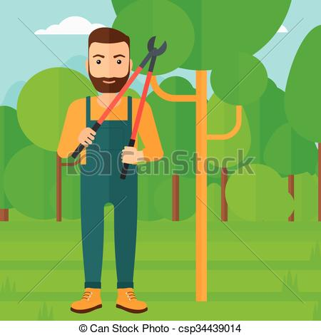 Vector Clip Art of Farmer with pruner in garden..