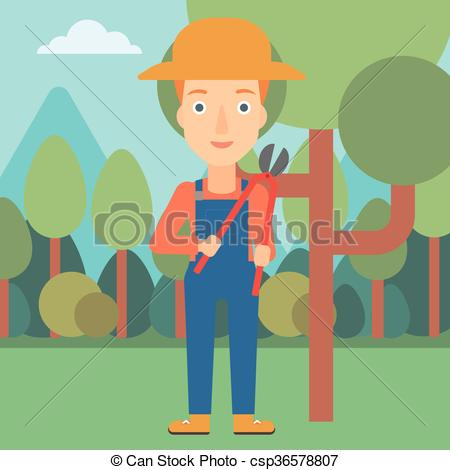 Vector Clipart of Farmer with pruner in garden..