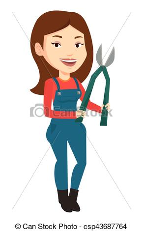 Clip Art Vector of Farmer with pruner vector illustration.