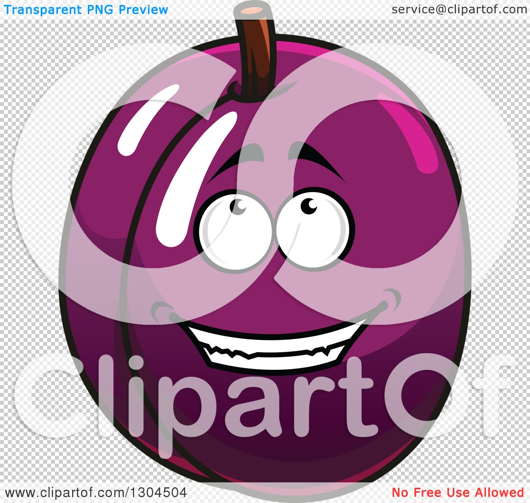 Clipart of a Cartoon Plum or Prune Character Looking up.