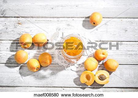 Stock Photography of Apricot jam and apricots, Prunus Armeniaca.