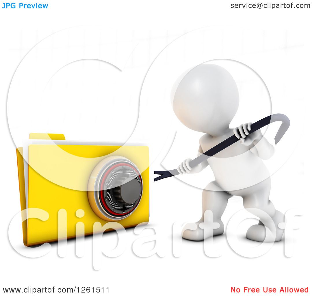 Clipart of a 3d White Man Trying to Pry Open a Secure File.