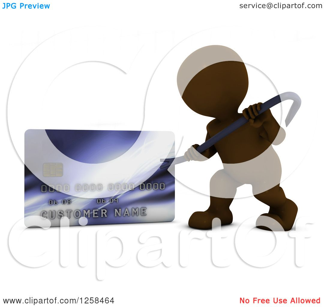Clipart of a 3d Brown Man Using a Pry Bar to Hack into a Credit.
