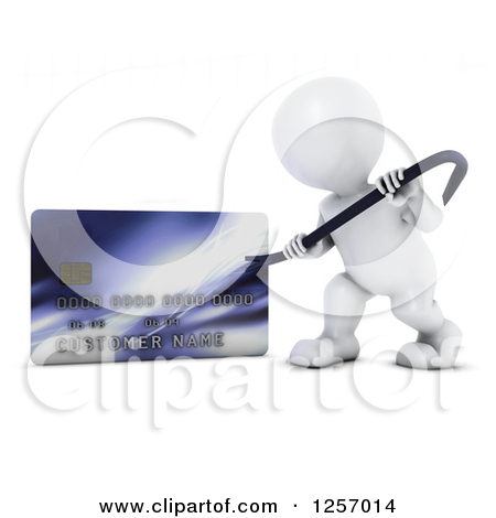 Clipart of a 3d White Man Using a Pry Bar to Hack into a Credit.