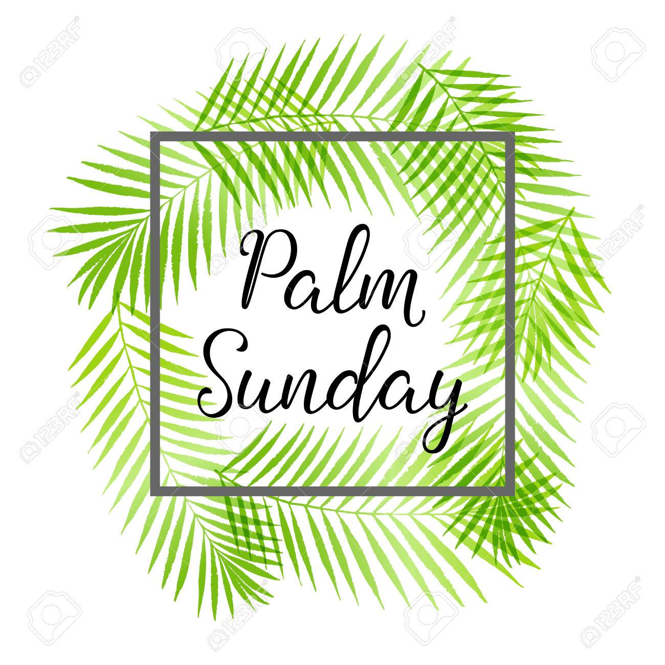 Palm Sunday holiday card, poster with palm leaves border.