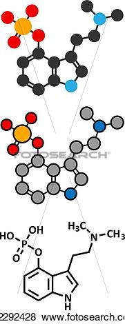 Clip Art of Psilocybin mushroom psychedelic drug molecule. Present.
