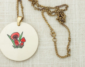 Mushroom necklace.