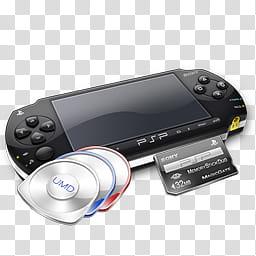 Psp icons, psp+umd\'s+mc, Sony PSP with three UMD discs.