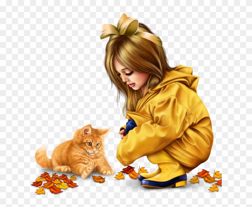 Little Girl In Raincoat With A Kitty Png.
