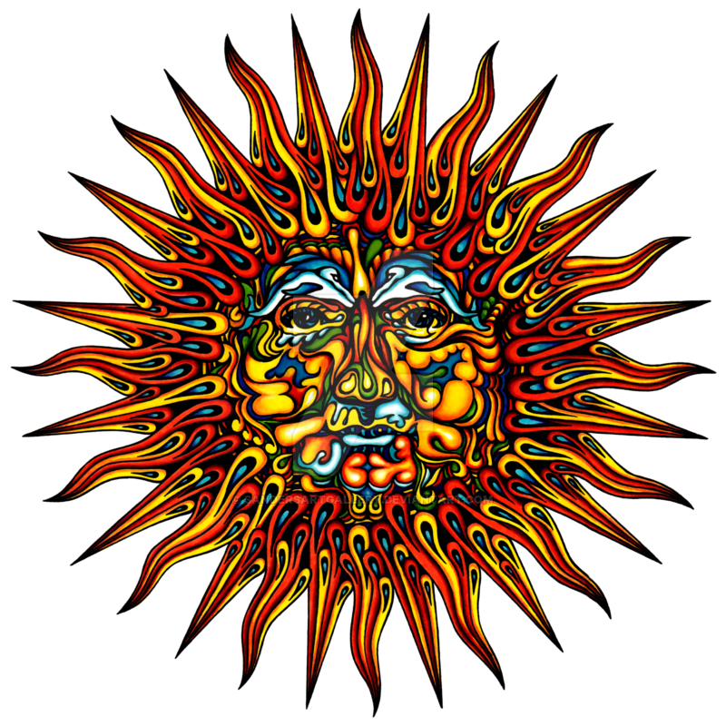 Psychedelic sun clipart.
