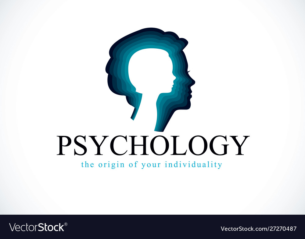 Psychology logo created with woman head profile.